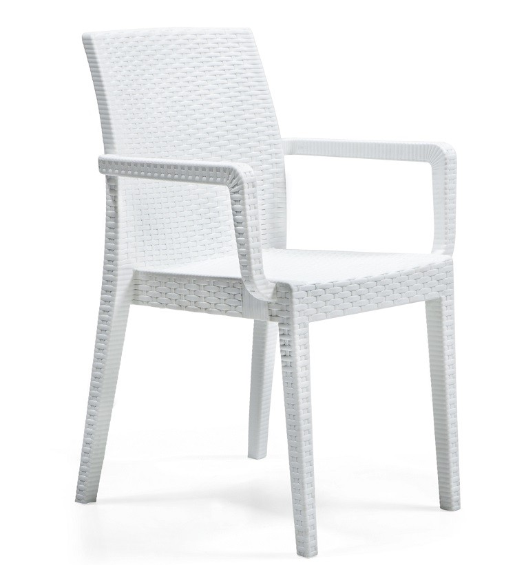 Armchair GLADY, Stackable, White Polypropylene