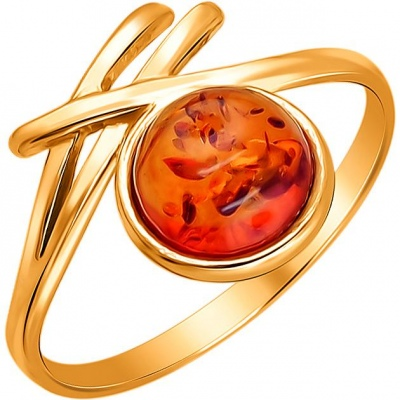 Baltic Gold Ring With 1 Amber Silver With Gold Plated