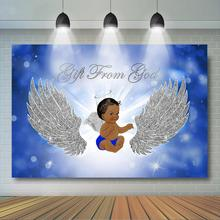 Boy Baby Shower Backdrop Heaven Sent Party Decor Banner Silver Angel Wings Blue Background