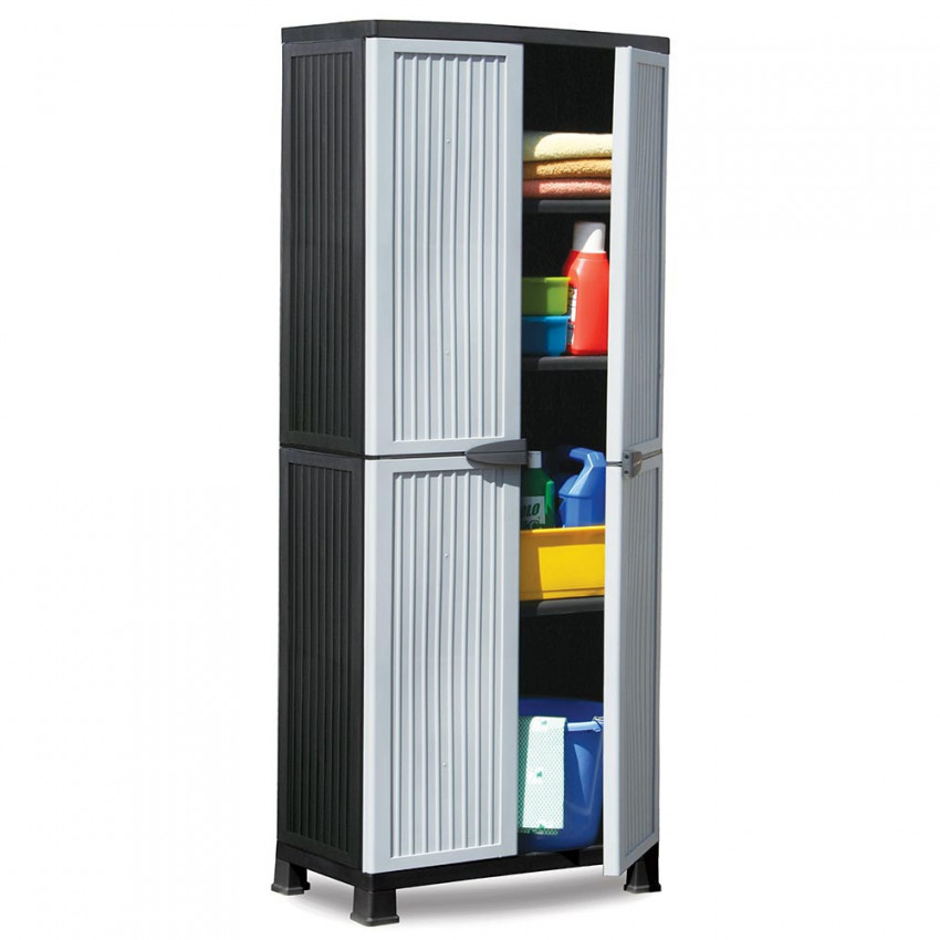 Wardrobe Resin With 3 Shelves Gray 171x68x39cm
