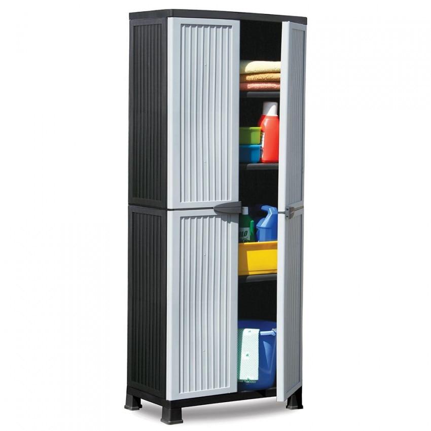 Wardrobe Resin With 3 Shelves Gray 171x68x39cm