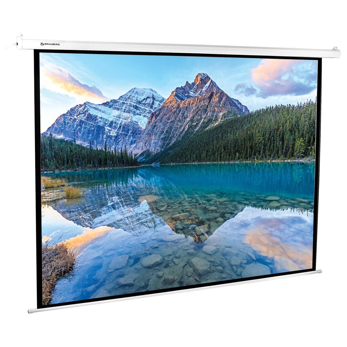 Экран проекционный Brauberg Moto, матовый, настенный, электропривод, 180х240 см, 4:3|Проекционные экраны| | АлиЭкспресс