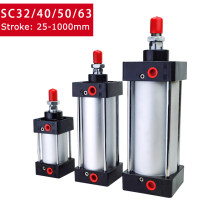 Standard Air Pneumatic Cylinders SC 32/40/50/63mm Bore Double Acting 50/75/100/125/150/175/200/250/300/350/400/500/1000mm Stroke