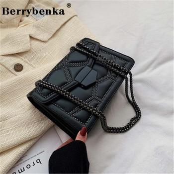 Berrybenka Luxury Rivet Chain Brand Designer PU Leather Crossbody Bags For Women 2021 Simple Fashion Shoulder Bag Lady Handbags