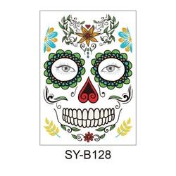 얼굴 메이크업 스티커 특별 방수 얼굴 문신 죽은 해골 얼굴의 날 할로윈 임시 문신 스티커를 차려 입다