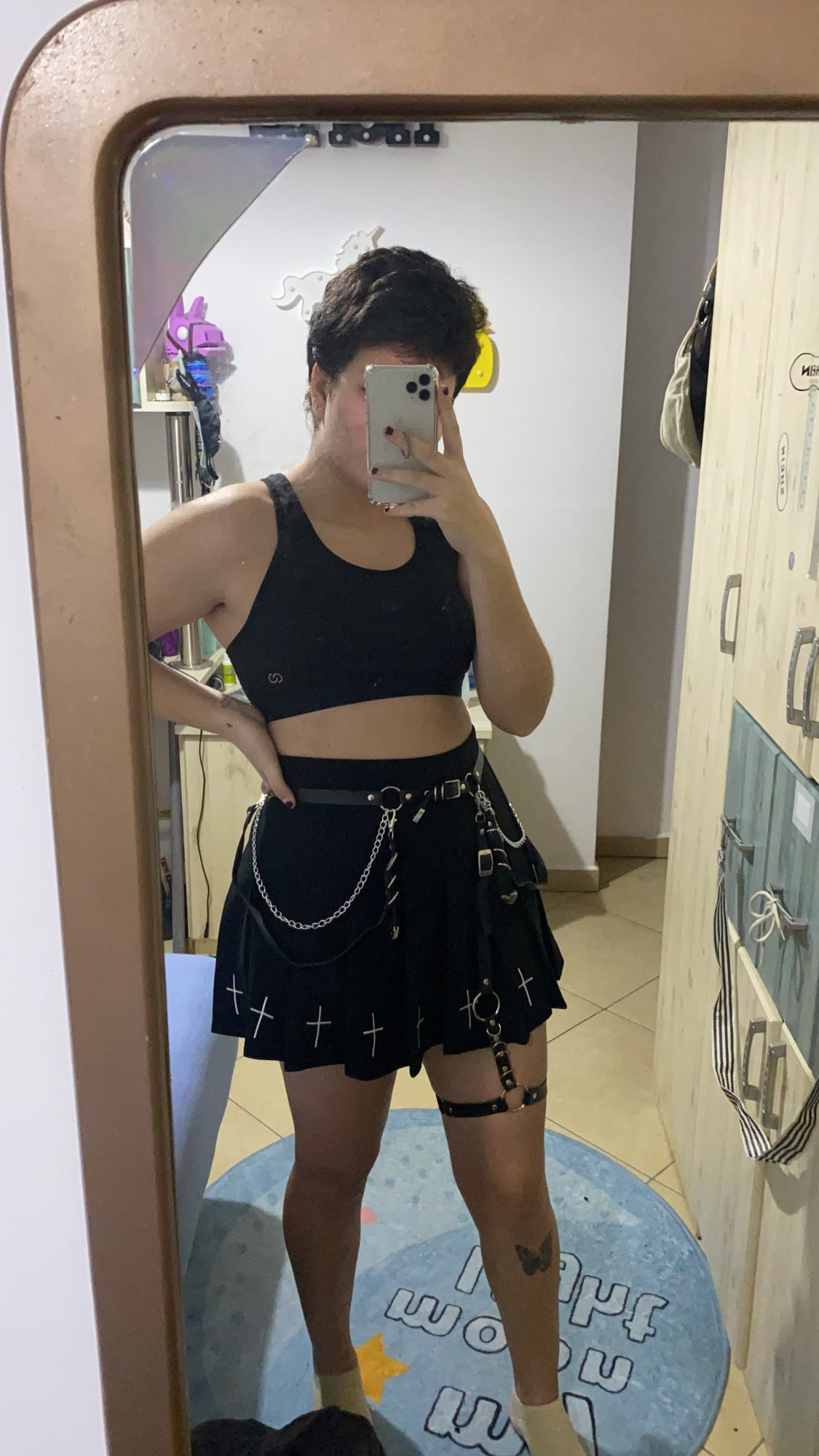Gothic Mini Skirts with cross E-girl Pastel gothic photo review