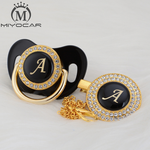 MIYOCAR Gold silver name Initials letter A beautiful bling pacifier and pacifier clip BPA free dummy bling unique design LAS 8/9