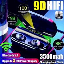 F10 3500 mah 3 display led power bank fones de ouvido bluetooth sem fio esporte no ouvido gaming fone ruído com microfone para iphone