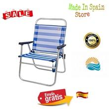 Aktive 53952 Silla plegable fija aluminio Beach, 51x56x90 cm Azul Diseno a rayas marineras in azul y blanco