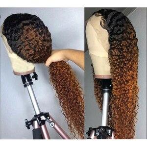 Image 5 - Perruques de cheveux humains bouclés pour les femmes noires 150% densité Ombre Brown perruques dentelle frontale 13*4 bouclés avant de lacet perruques cheveux brésiliens