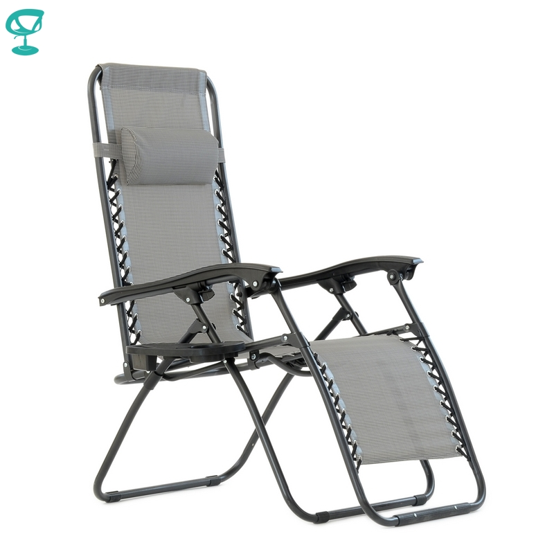 95641 Barneo PFC-16 Gray Folding Reclining Garden Deck Chair Sturdy Tubular Steel Frame HardWearing Textoline Fabric Adjustable
