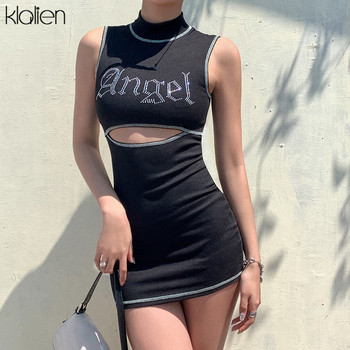 KLALIEN fashion casual summer diamond Shiny bodycon dress women 2020 streetwear high waist sexy hollow out letter mini dress fuda fashion tie dyed sexy hollow out mini dress elegant sleeveless bodycon bandage pencil dress summer femme retro clothing