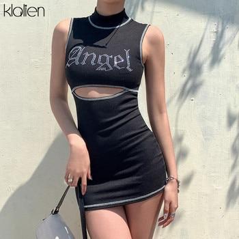 цена на KLALIEN fashion casual summer diamond Shiny bodycon dress women 2020 streetwear high waist sexy hollow out letter mini dress