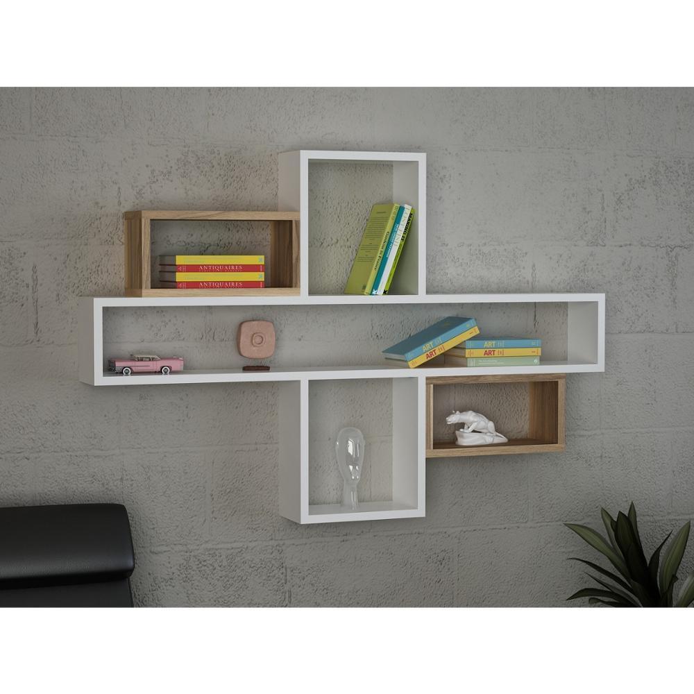 Shelf&Shelf MADE IN TURKEY Modern Shelf Decorative White Living Room Wood Wall Book Holder Organizer Bookshelf Rack Bookcase|Bookcases| |  - title=