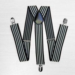 Подтяжки для брюк широкие (3.5 см, 3 клипсы, Черный, Белый) 54733