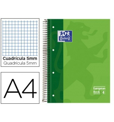 NOTEPAD SPIRAL OXFORD TOP EXTRADURA MICROPERFORATED DIN A4 80 SHEETS PICTURES 5 MM-GREEN COLOR 5 PCs