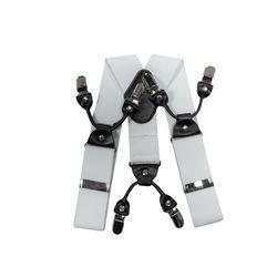 Подтяжки для брюк широкие (4 см, 6 клипс, Белый) 55138
