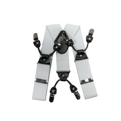 Suspenders for trousers wide (4 cm, 6 clips, white) 55138