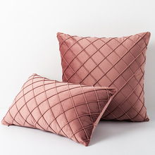 Home  luxury waist pillows case , compression bar, rhombic bedside cushion cover, rhombic lattice velvet pillow cover