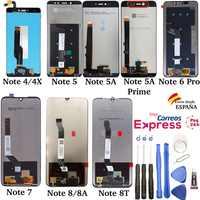 Pantalla para Xiaomi Redmi Note 4 4X 5 Pro 5A Prime 6 7 8 8A 8T, Completa LCD Táctil, Display Digitalizador, Herramientas Negra
