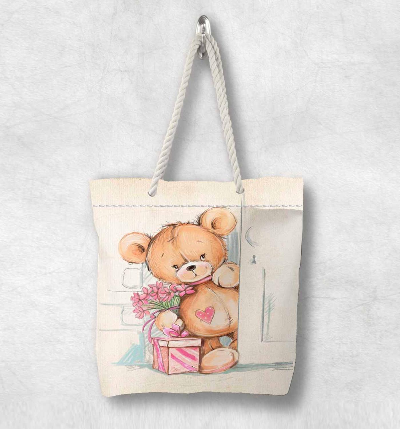 Else Pink Box Cute Funny Brown Bear Girl Animal White Rope Handle Canvas Bag  Cartoon Print Zippered Tote Bag Shoulder Bag
