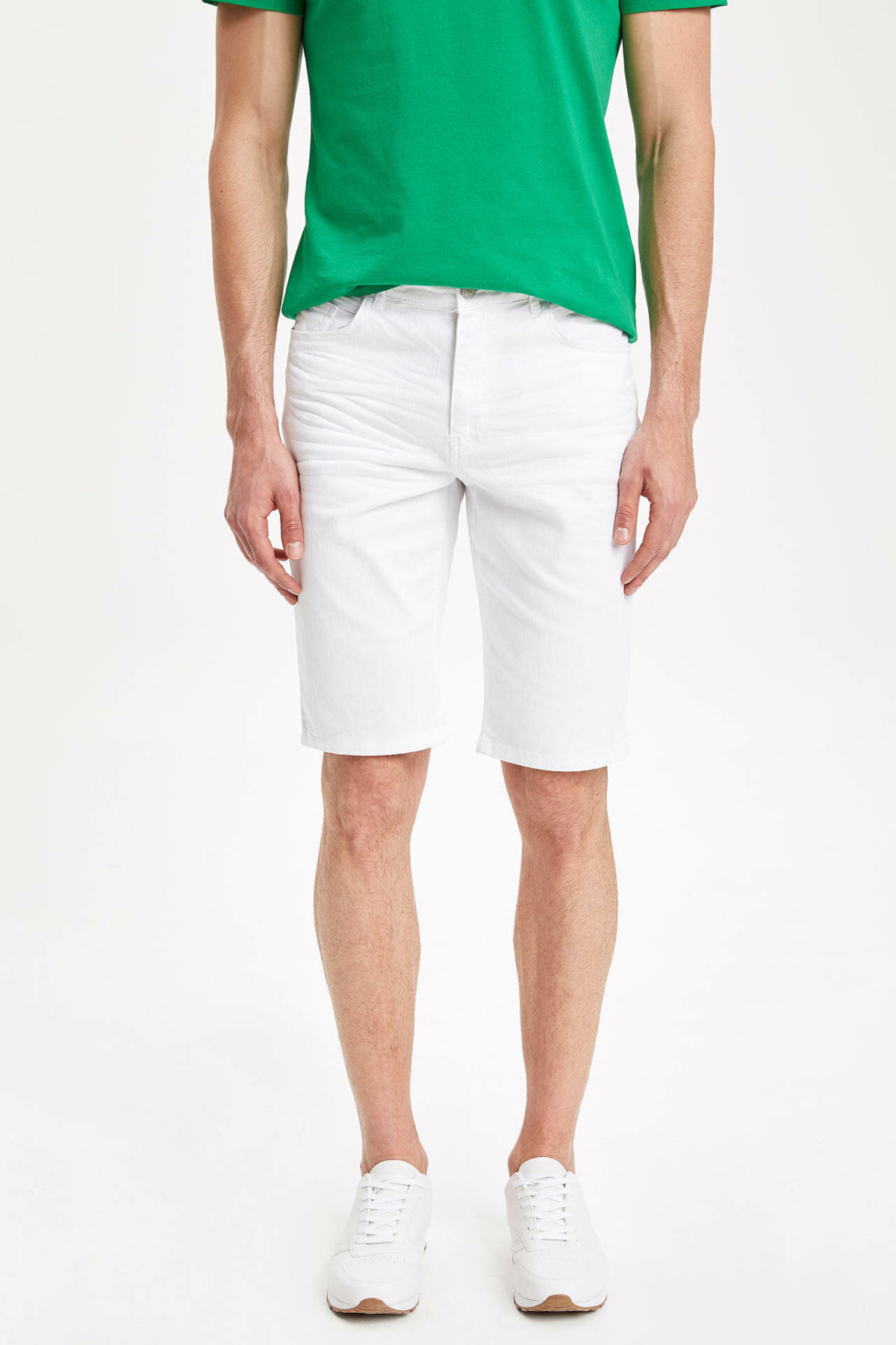 DeFacto Man Summer White Casual Shorts Men Skinny Fit Short Bottoms Male Bermuda Shorts-K6788AZ19SM