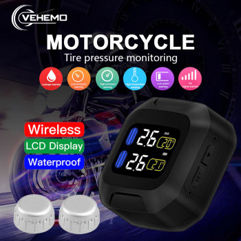 VEHEMO Tire Pressure Monitoring System Motorbike TPMS Tire Pressure Alarm USB Interface Motorcycle 2PCS Sensor Time Display