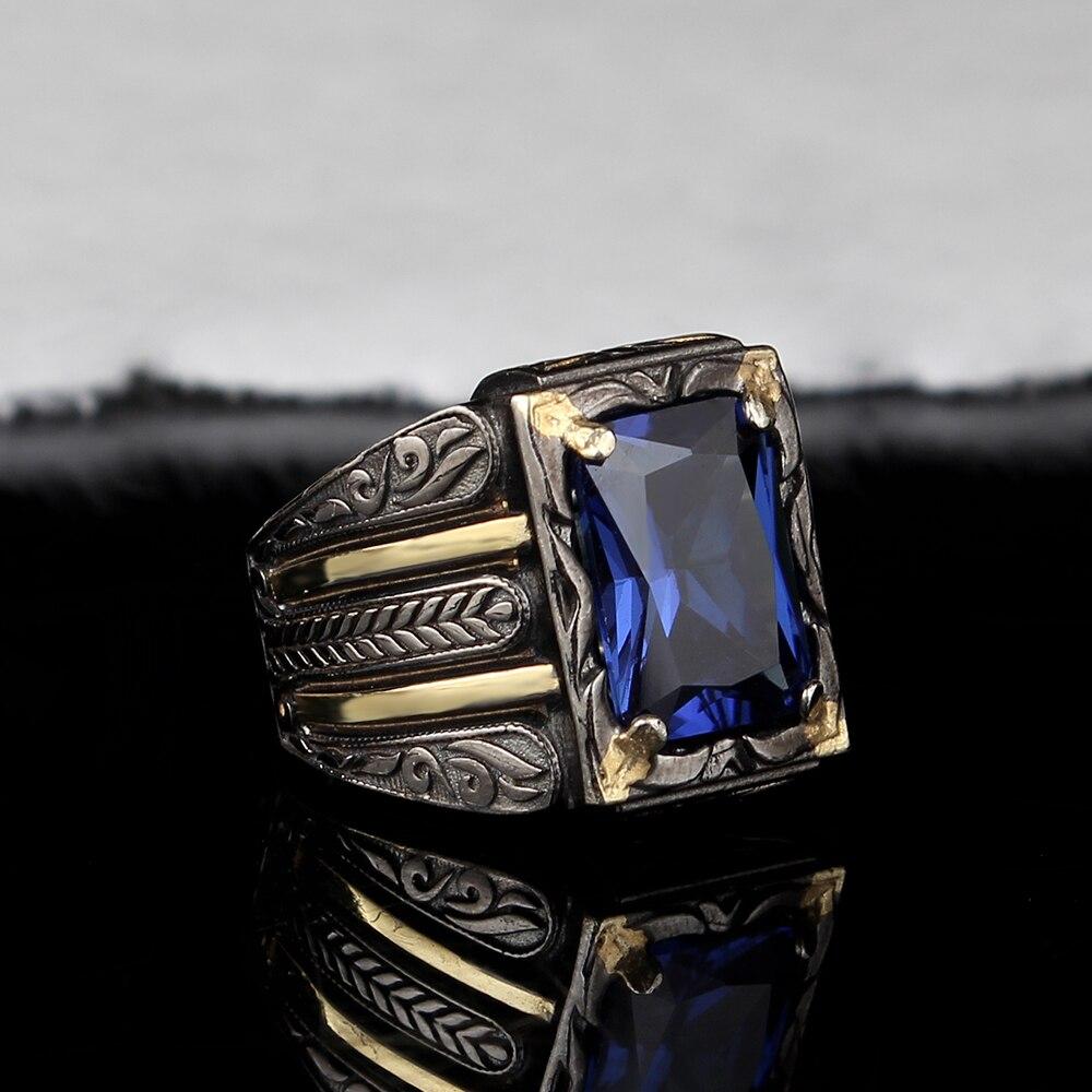 בעבודת יד Mens כסף Tanzanite טבעת, איש 925 כסף טבעת, TurquazJewelryArt כסף בעבודת יד מלבני Tanzanite טבעת