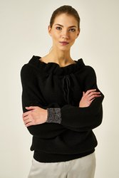 Joinus Frill Neck Knitted Jumper With Tie Detail Woman Black