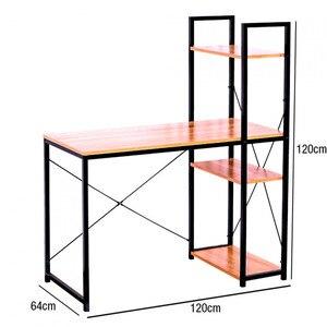 Metal Desk with shelf 3 wooden Baldas Ozra 120x120x64cm 7house