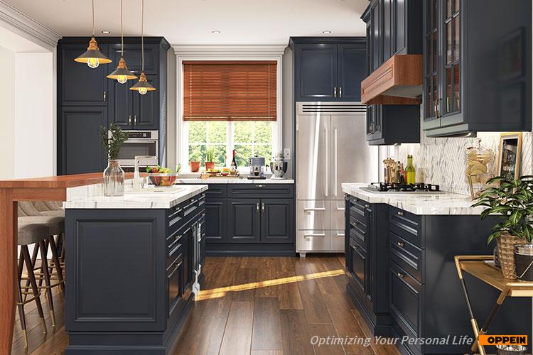 Oppein Rustic Kitchen Design Navy Blue
