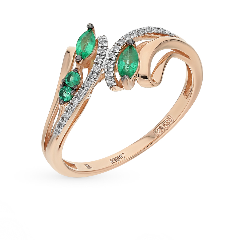 Gold Ring With Diamonds And Emeralds SUNLIGHT Test 585