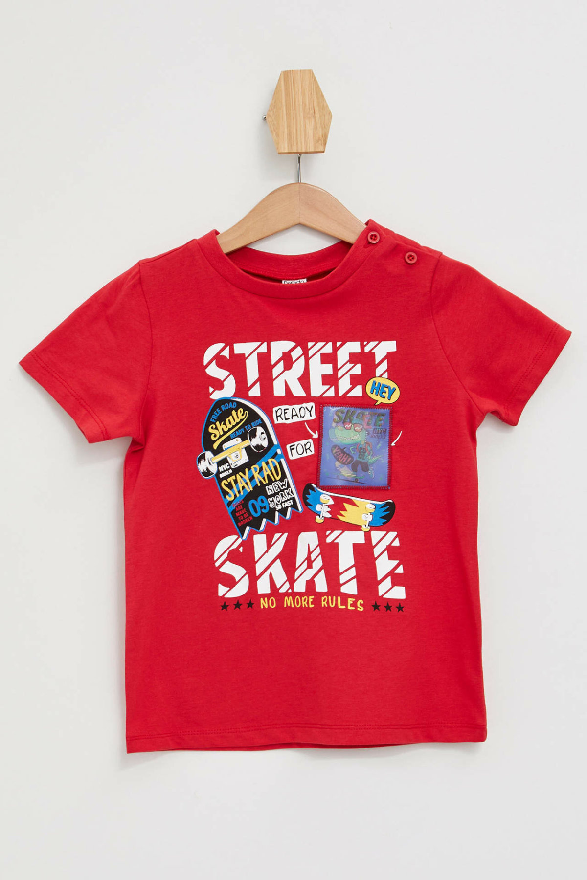 DeFacto New Fashion BabyBoy Short Sleeve Tee Kids Casual O-neck Letter Pattern T-Shirt Boys Loose Comfort Tops Red- L6178A219HS