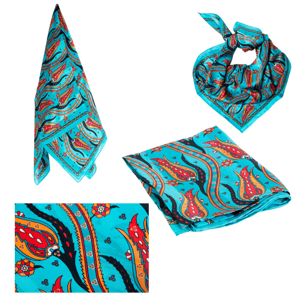 Biggdesign Tulip Patterned Silk Scarfs, Ethnic Pattern, 90x90 Cm, Blue Color