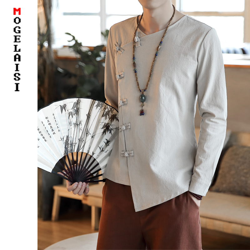 New 2020 Srping Shirt Men Linen Cotton Tops Chinese Style Solid Long Sleeve Man Shirts Comfortable Soft Shirt 3XL A453-C84