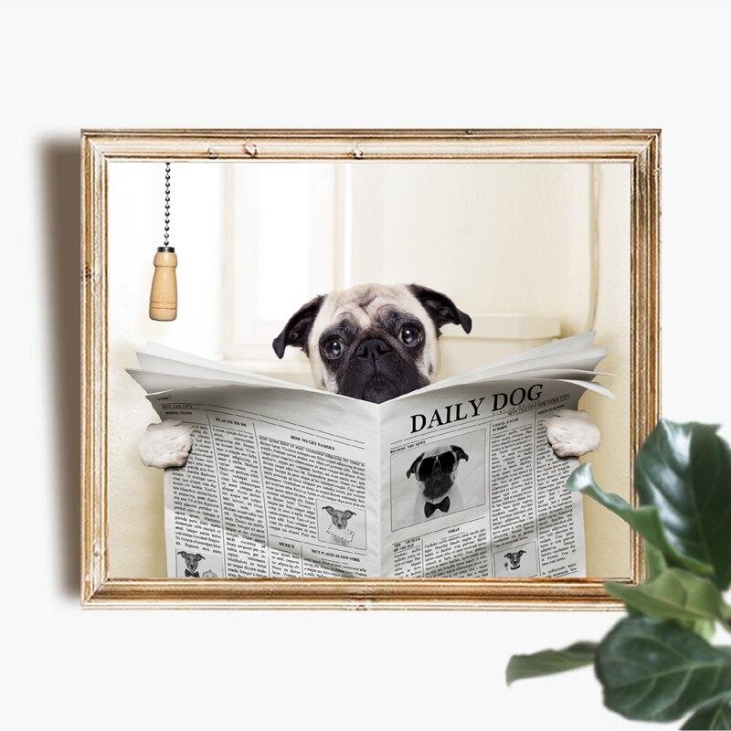 Pug Dog Reading Magazine Canvas Prints Toilet Decor