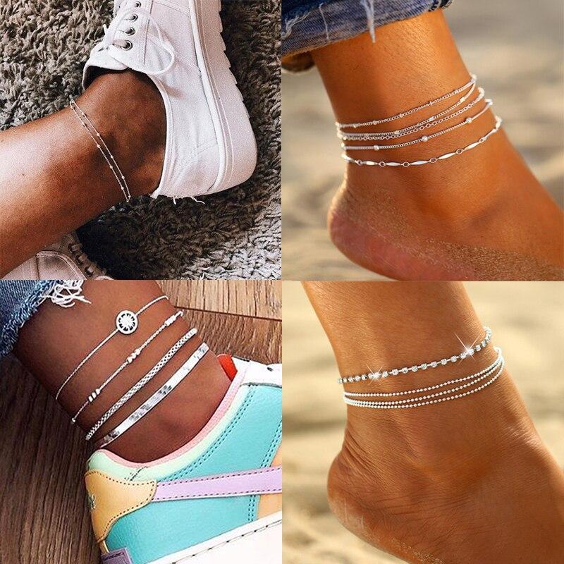 Bohemian Multi Layers Chain Anklet Ankle Bracelet Simple Summer Ocean Beach Anklet for Women Foot Leg Bracelet Jewelry 2020