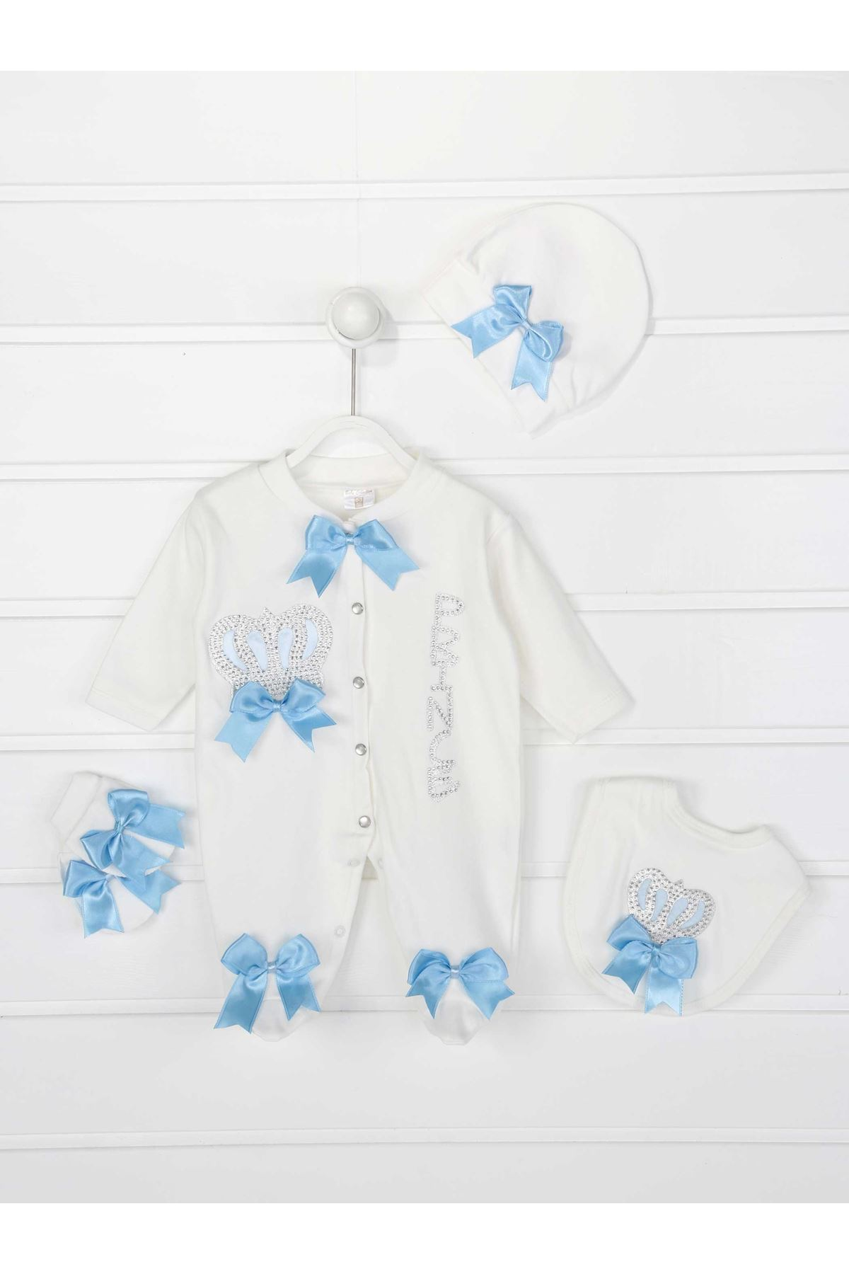 Blue King Crowned Prince Boy Baby 4 PCs Rompers