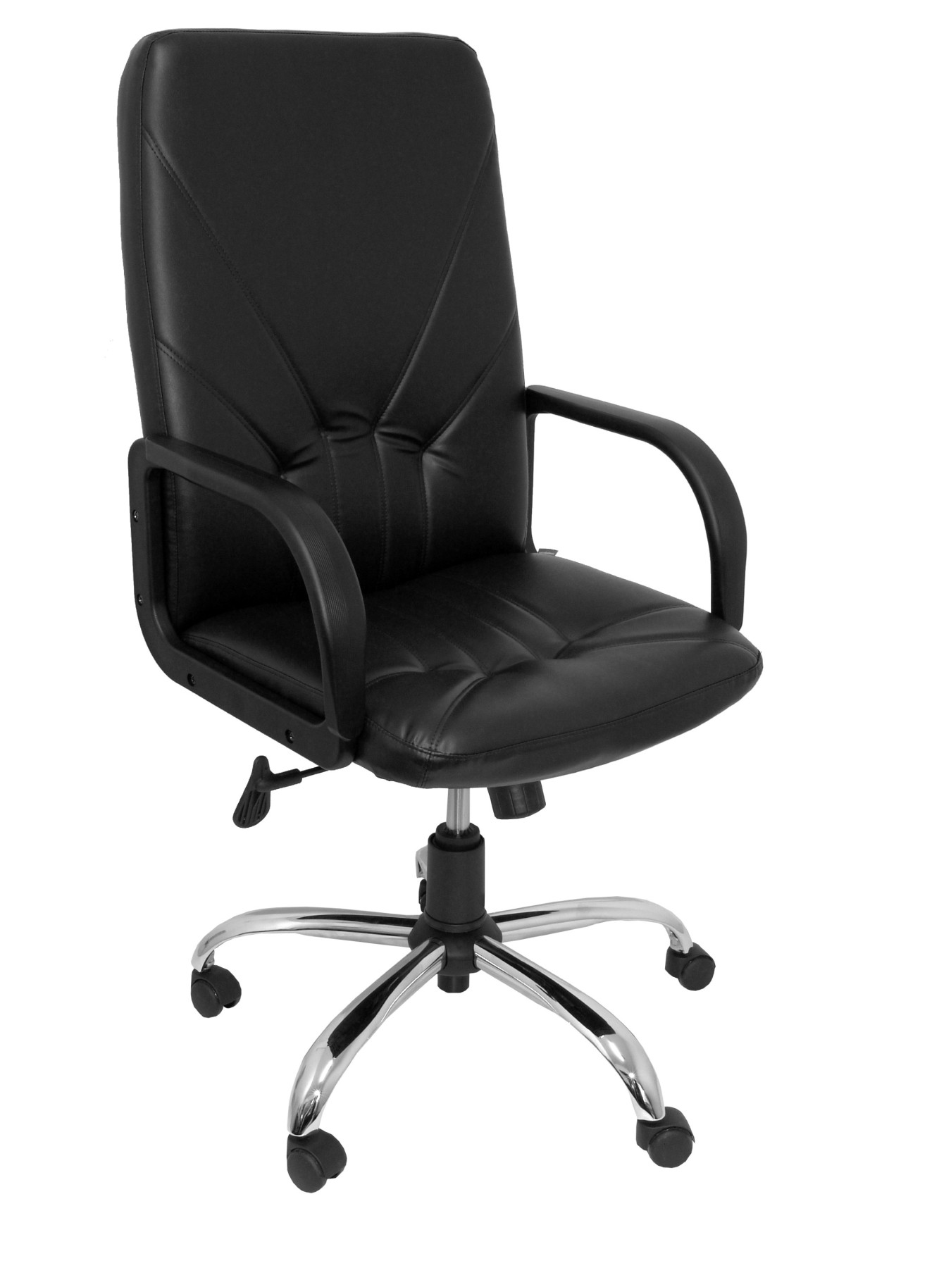 Armchair Ergonomic Steering With Tilting House Mechanism And Dimmable In High Altitude Upholstered In Similpiel Color Black PIQU