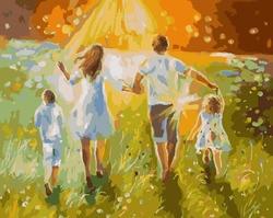 Malerei durch zahlen PK 36001 sommer spaziergang mit familie 40*50