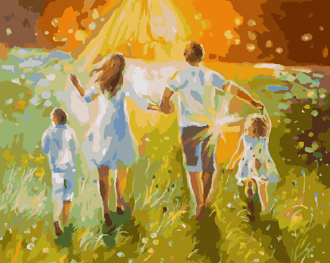 Painting By Numbers PK 36001 Summer Walk With Family 40*50