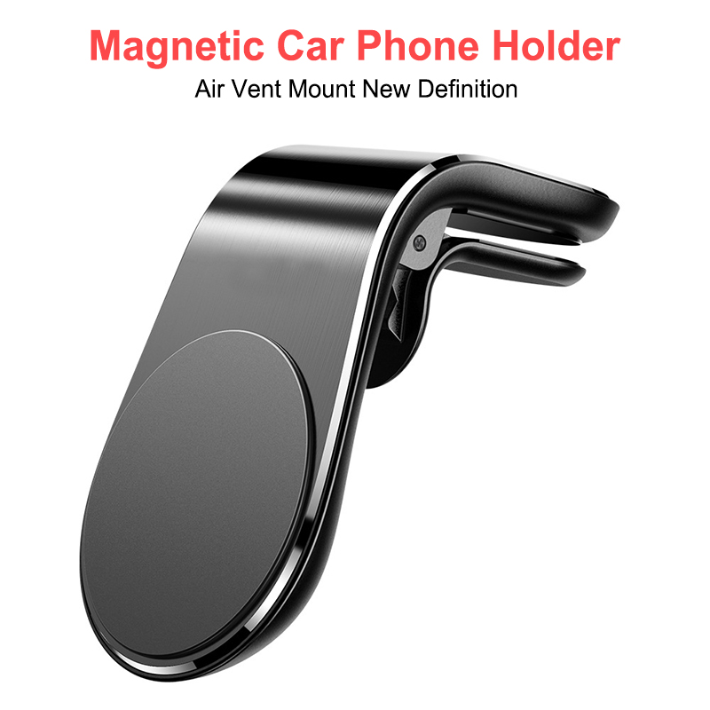 Magnetic Car Phone Holder Air Vent Mount Stand  L Shape In Car GPS Mobile Magnet Phone Holder For IPhone X Samsung Huawei