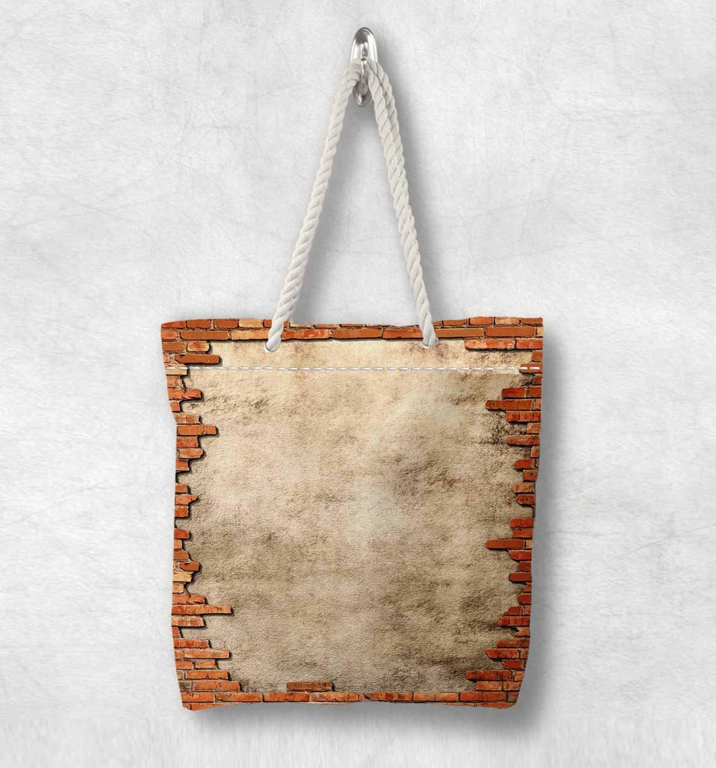 Else Brown Brick Wall Vintage Stone New Fashion White Rope Handle Canvas Bag Cotton Canvas Zippered Tote Bag Shoulder Bag