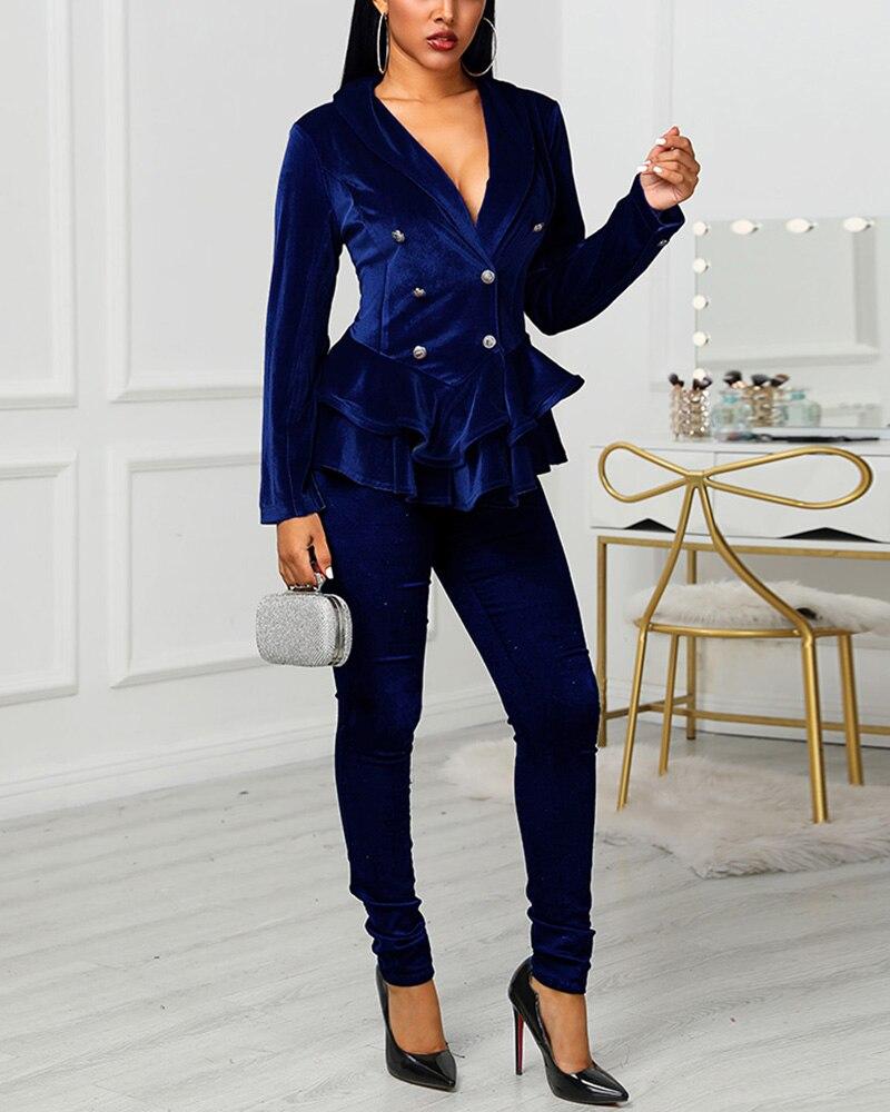 2020 Female Double Breasted Velvet Ruffle Blazer & Skinny Pants Officewear Ladies Business Suits Elegant Velvet Red Blazer