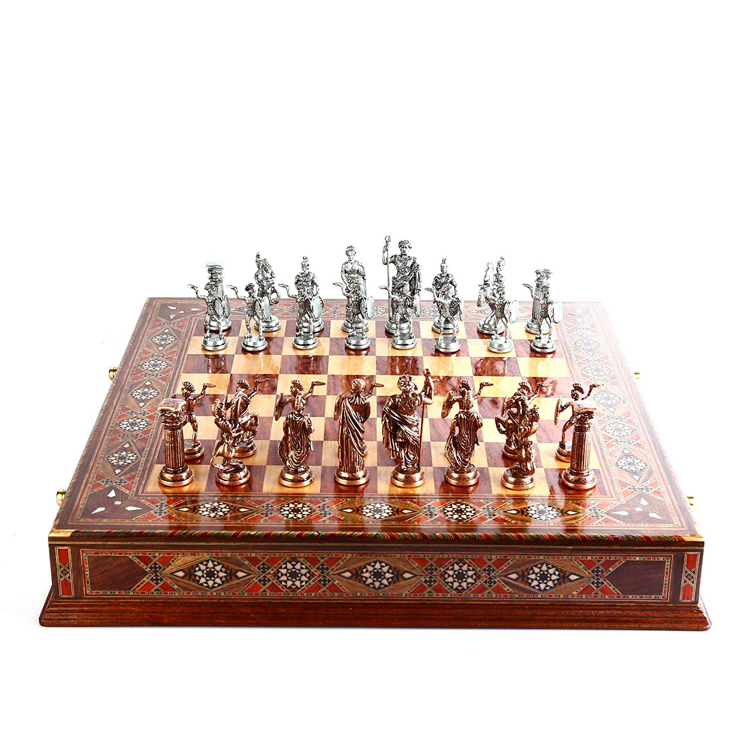 Antique Copper Rome Figures Metal Chess Set,Handmade Pieces,Natural Solid Wooden Board Original Pearl,Storage Inside King 10 Cm