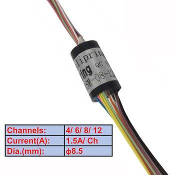 Anillo de deslizamiento Micro 8,5mm 4/6/8/12 canal 1.5A anillo de deslizamiento giratorio para Gimbal de mano PTZ RC y dispositivos de Rotor