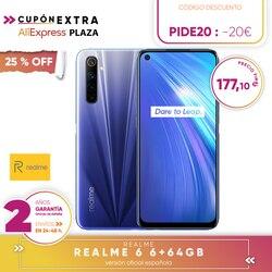 [Official Spanish version warranty] Realme 6 4  64gb, 4  128gb, 8  128gb Smartphone Octa Core, Four camaras, reader side paw prints