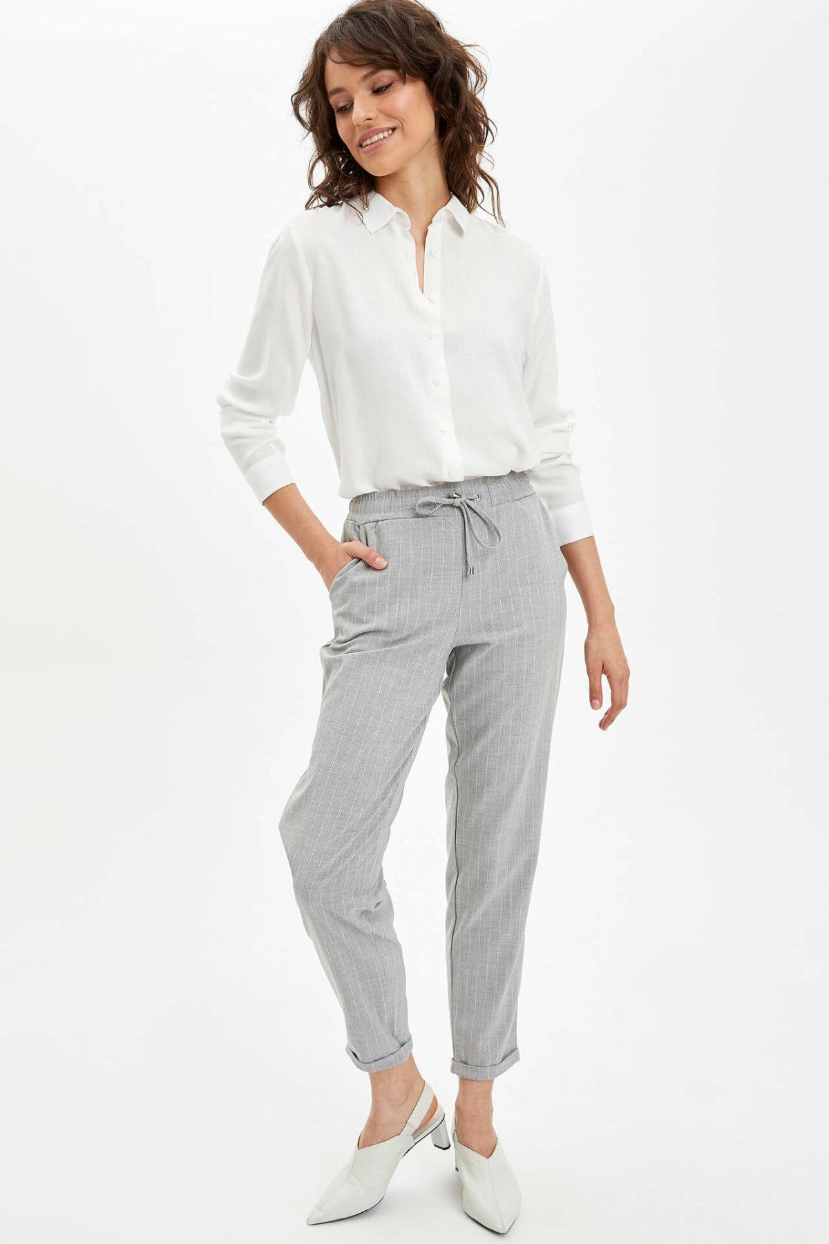 DeFacto Woman Spring Cargo Pants Women Grey Black Plaids Pants Women Straight Ninth Trousers-I4364AZ20SP