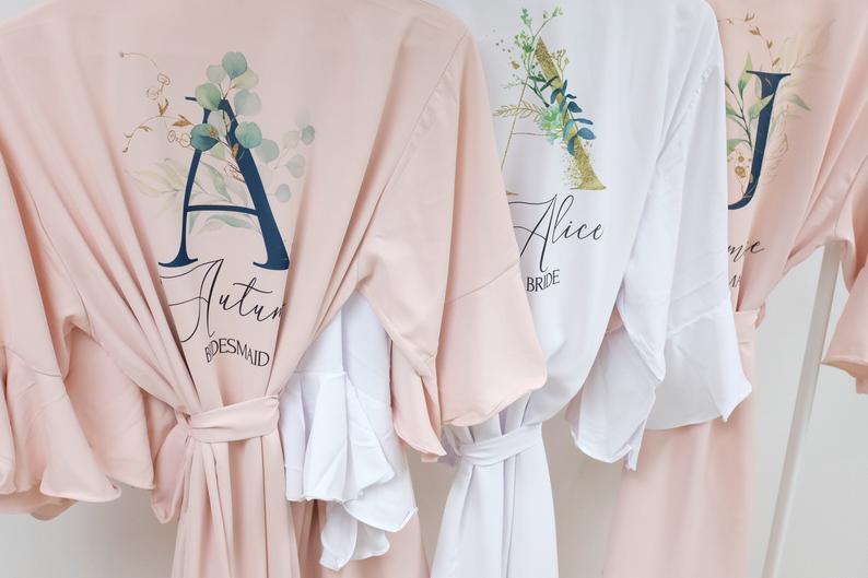 Bridesmaid Robes, Sage Green, Wedding Robe, Personalized Bridesmaid Gifts, Bridal Robe, Chiffon Ruffle Lace Robes, Bridal Party