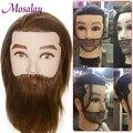 100% männliche Echte Menschliche Haar Mannequin Praxis Ausbildung Kopf Mit Bart Für Schneiden Friseur Gliederpuppe Kopf Für Schönheit Schule